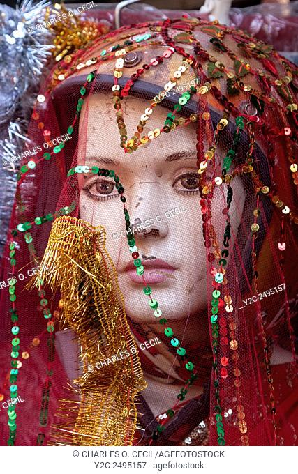 Nepal, Kathmandu. Veiled Mannequin, Showing Signs of Wear and Tear