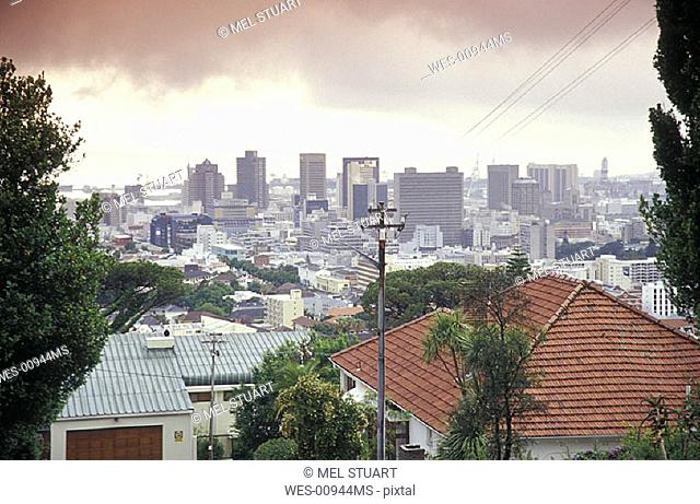 Skyline of Capetown, from Tamboerskloof, Western Cape, Capetown, South Africa