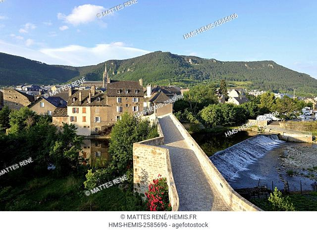 France, Lozere, Gevaudan, Lot Valley, Mende, Pont Notre Dame, Medieval bridge of the 12th century on the Lot river and St Privat cathedral