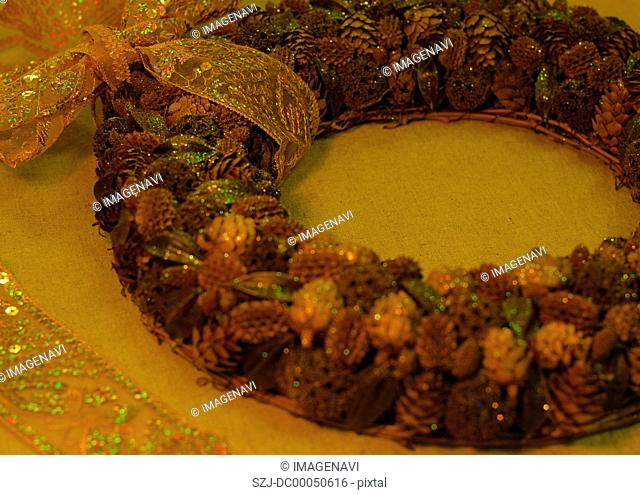 Wreath made of nuts