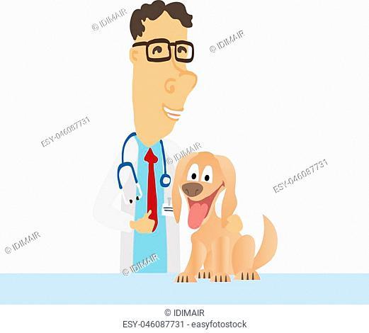 Cartoon Medical Man on white coat with dog. Vector illustration