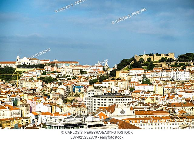 skyline at Sao Jorge Castle Lisboa Portugal