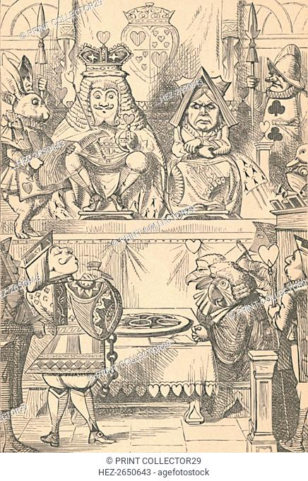 'The King and Queen of Hearts in Court', 1889. Artist: John Tenniel
