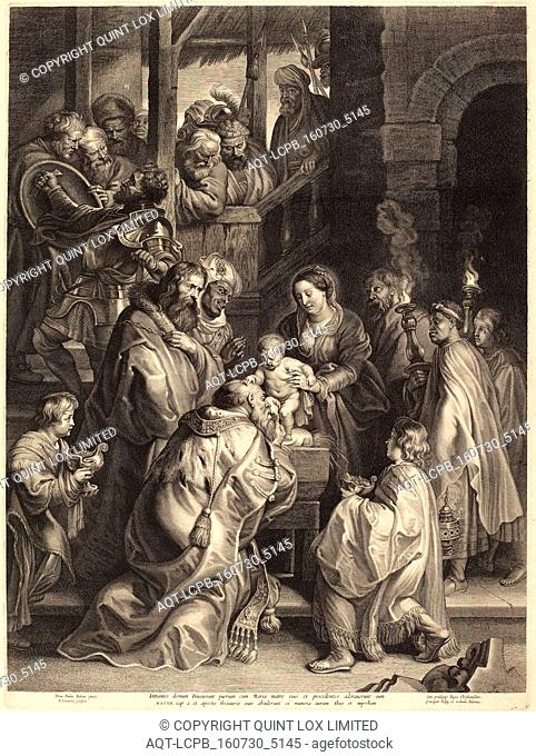 Nicolaes Lauwers, after Sir Peter Paul Rubens (Flemish, 1600 - 1652), The Adoration of the Magi with Torches, engraving on laid paper