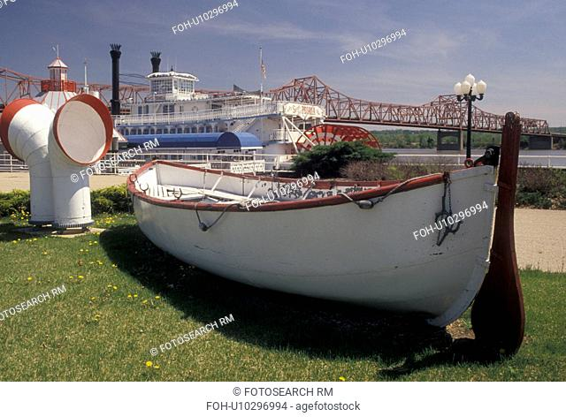 Peoria, IL, Illinois, Rowboat at Riverfront Park along the Illinois River in Peoria