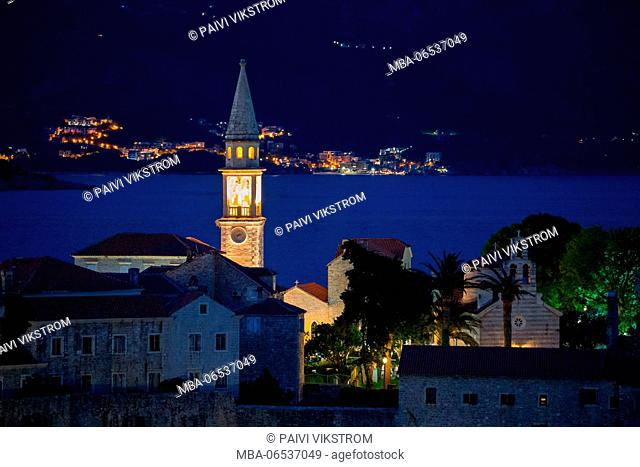 Old Town Budva at night, Montenegro