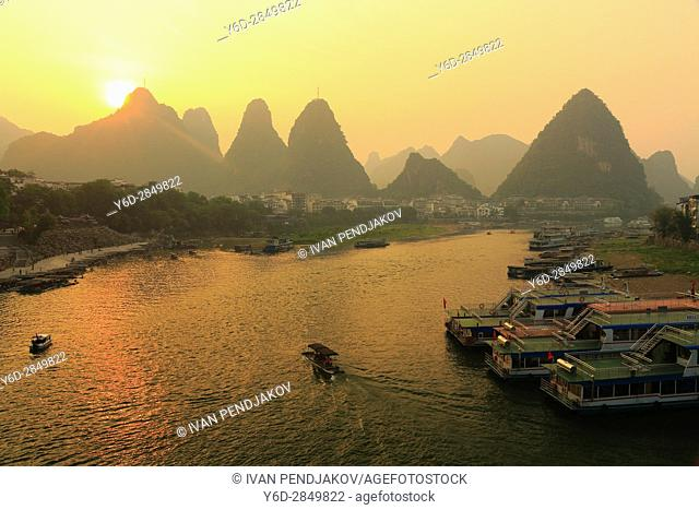 Sunset at Yangshuo Town, Li River, Guangxi, China