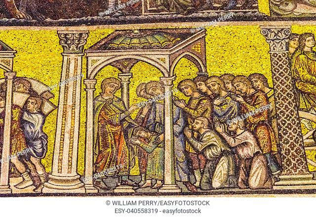 Siaint, worshipers, Stories Mosaic Dome Bapistry Saint John Duomo Cathedral Church Florence Italy. Bapistry created 1050 to 1150