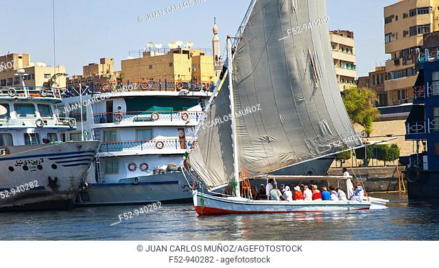 Tourists in Feluccas. Aswan. Nile Valley. Egypt