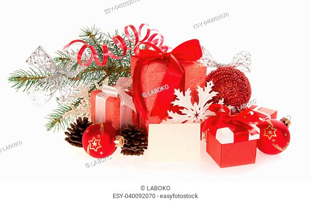 Set of Christmas gifts and Christmas decorations, Christmas tinsel and empty card isolated on white