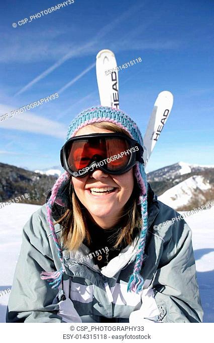 girl having fun at ski resort