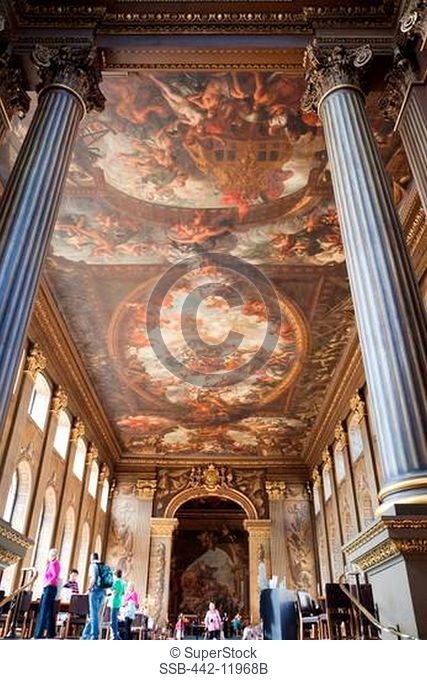 UK, London, Greenwich, Old Royal Navel College, The Painted Hall, Artwork by Sir James Thornhill