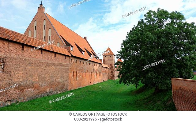 Castle of Malbork. Founded by the Teutonic Order in the polish town of Malbork in 1274. Poland, Europe