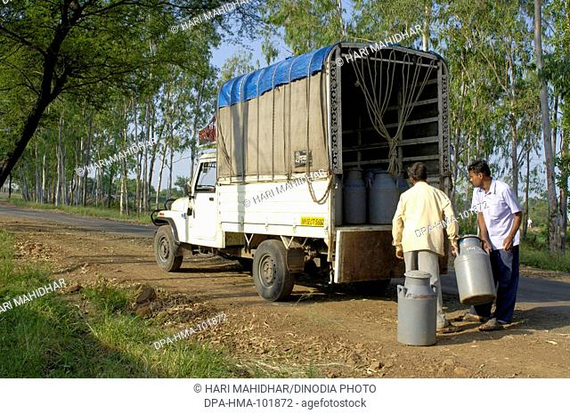 Milk cans being shifted into the van at Ralegaon Siddhi ; near Pune ; Maharashtra ; India