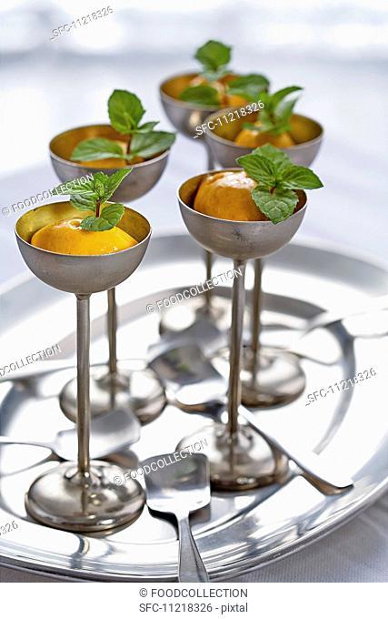 Medlar sorbet with fresh mint