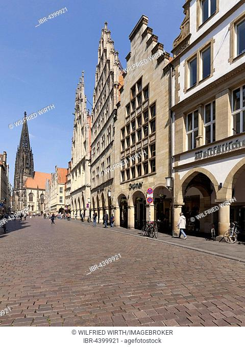 Lamberti-Church, city wine house and town hall at Prinzipalmarkt, Münster, Münsterland, North Rhine-Westphalia, Germany