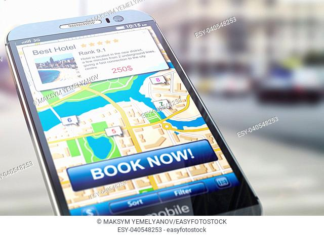 Booking hotel by smartphone. Mobile phone with map of the city and proposals for appartment reservation. 3d illustration