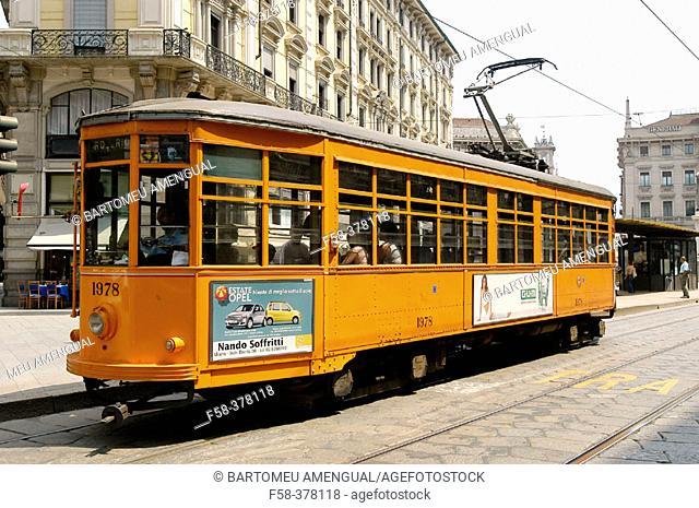Tram. Milan. Lombardy, Italy