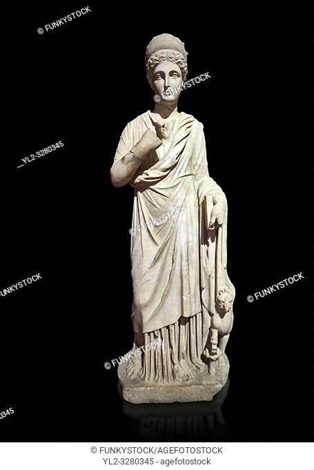 Roman statue of Nemesisgoddess of retribution. Marble. Perge. 2nd century AD. Inv no 28. 23. 79. Antalya Archaeology Museum; Turkey