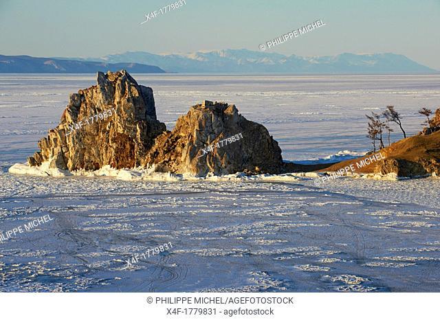 Russia, Siberia, Irkutsk oblast, Baikal lake, Maloe More little sea, frozen lake during winter, Olkhon island, Shaman rock