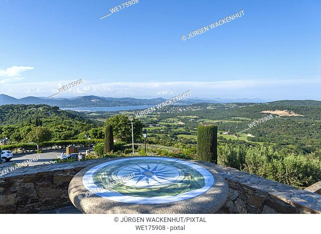 Landscape of Gulf of Saint Tropez seen from the viewpoint indicator of the village Gassin, Var, Provence-Alpes-Cote d'Azur, France, Europe