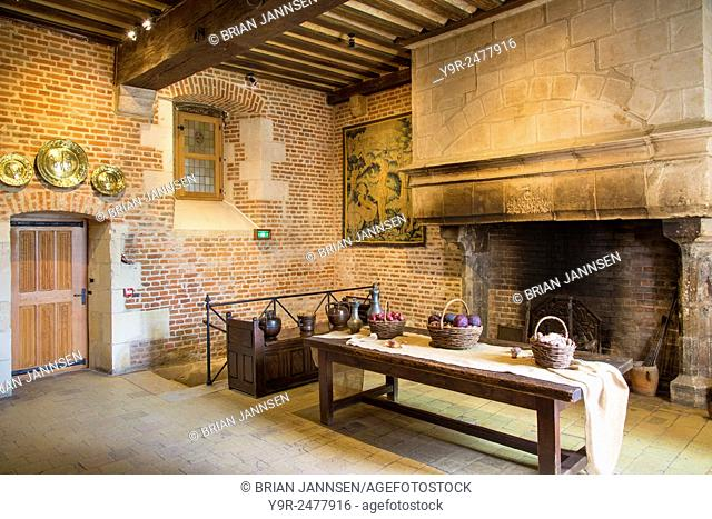 Kitchen of Chateau Clos Luce - home of Leonardo da Vinci from 1516-1519, Amboise, Indre-et-Loire, Centre, France