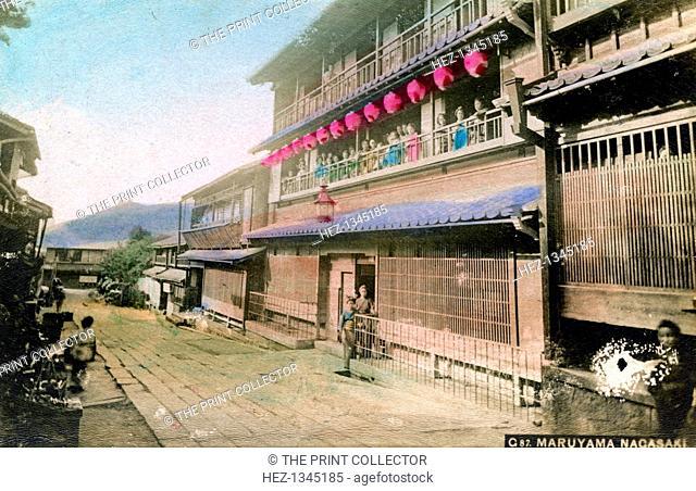 Maruyama, Nagasaki, Japan. Hand-tinted picture postcard. The Maruyama area was the main entertainment area of Nagasaki for centuries