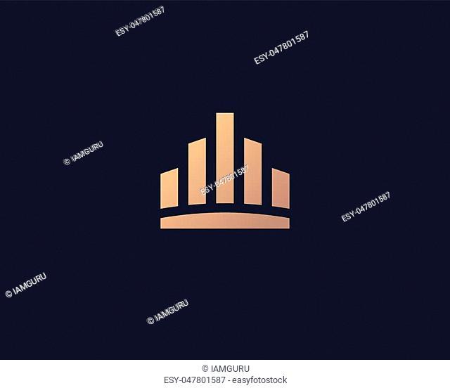 Abstract city town logo icon vector design. Crown symbol. Elegant house hotel architecture logotype. Royal graph diagram king premium emblem