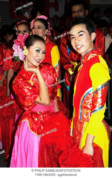Malaysian Chinese dancers prepare to celebrate Chinese New Year in Kuala Lumpur