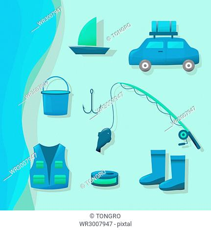 Icon of various objects for fishing
