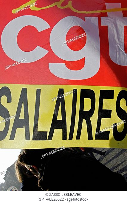 THE FRENCH TRADE UNION CGT, DEMONSTRATIONS AND GENERAL STRIKE, JANUARY 29, 2009, PARIS, 75