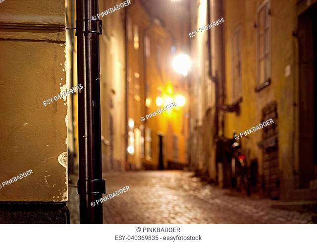 Detail from narrow street in Gamla Stan, the Old Town of Stockholm