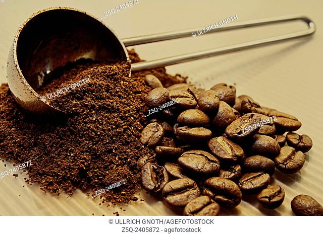 Coffee, beans and ground