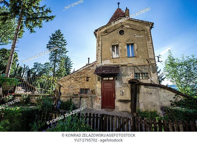 Old Ropemakers' Tower (Turnul Franghierilor) in Historic Centre of Sighisoara city, Transylvania region in Romania