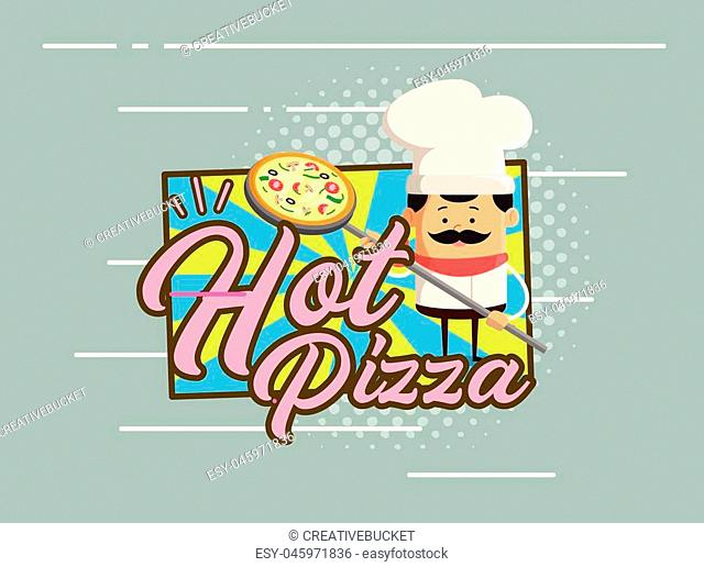 Cartoon Chef - Hot Pizza Flat Vector Illustration Design
