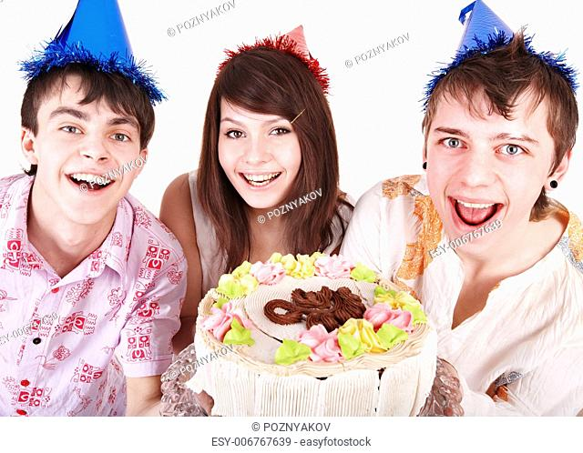 Group people in party hat eat cake. Isolated