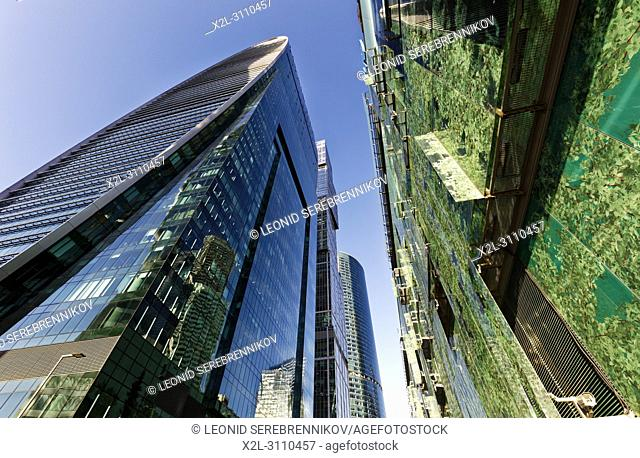 """High rise buildings of Moscow International Business Centre (MIBC), also known as """"Moscow City"""""""". Moscow, Russia"""