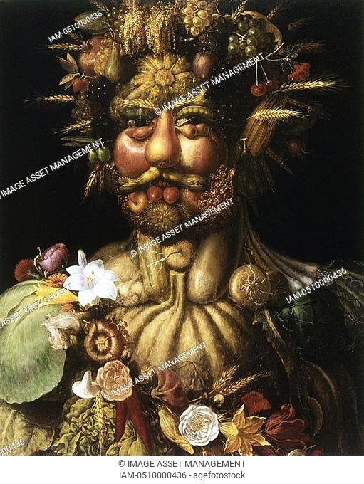 ' Vertumnus - Rudolf II' c1590, showing Rudolph II 1552-1612, Holy Roman Emperor from 1576, as Vertumnus, ancient Roman god of seasons who presided over gardens...