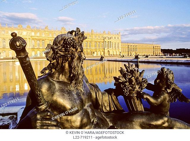 The main front. View from the Parterre d'Eau. The Palace of Versailles was the official residence of the Kings of France from 1682 until 1790