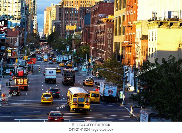 Overview of a street in New York City. NY, USA