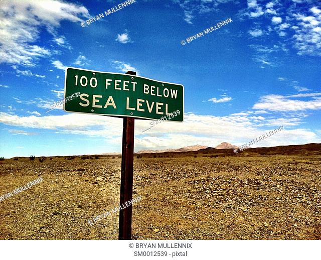 Below sea level sign in Death Valley National Park, California (mobile image)