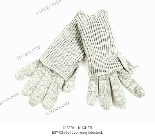 gray knitted winter gloves isolated on white background