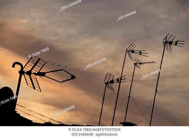 TV antennas fixed on the roof, Barcelona, Catalonia, Spain