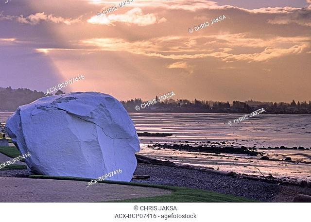 The 486-ton glacial erratic boulder for which this beach town is named, White Rock, British Columbia, Canada