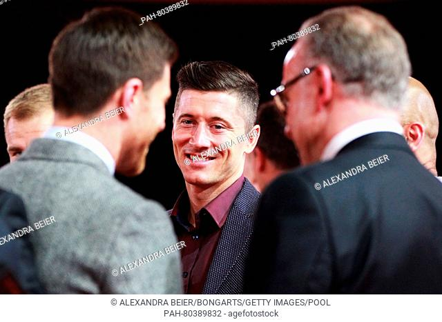 MUNICH, GERMANY - MAY 14: Robert Lewandowski smiles with his Championshop ring during the FC Bayern Muenchen Bundesliga Champions Dinner at the Postpalast on...
