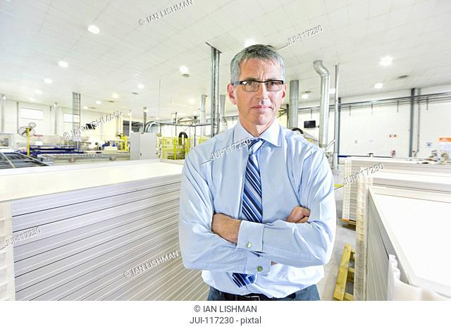 Businessman In Solar Panel Manufacturing Plant