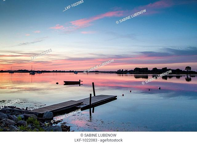 Sunset the Wormshoefter Noor, Schlei Fjord, Maasholm, Baltic Coast, Schleswig-Holstein, Germany