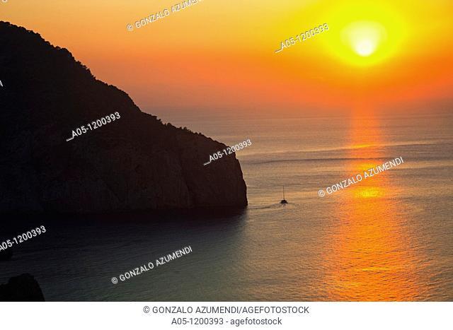 Sunset from Hacienda Na Xamena Hotel. Sant Miquel. Ibiza. Balearic Islands. Spain