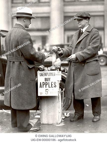 Man selling apples during the Depression