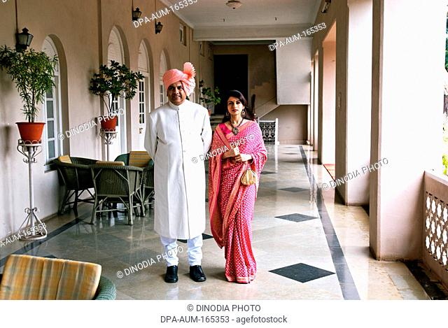 Maharaja Vijaysinghraje Patwardhan of royal family with daughter actress Bhagyashree at Sangli ; Maharashtra ; India NO MR 7-Sep-2008